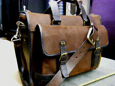 BOSCA Italy Vintage Leather Lawyer Doctor Attache Briefcase Bag Mens