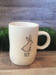 Rae Dunn Artisan Collection HOP Pink Bunny Easter Coffee Tea Mug  - HTF