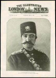 1889-Antique-Print-HIS-MAJESTY-NASR-ED-DIN-SHAH-OF-PERSIA-Portrait-221