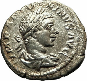 ELAGABALUS-218AD-Rome-Authentic-Ancient-Silver-Roman-Coin-Fides-Trust-i77068
