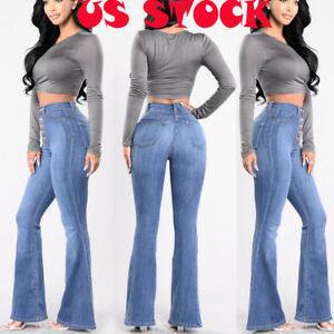 on sale online new concept luxury Details about USA Womens Vintage High Waist Flared Bell Bottom Jeans trendy  Light Denim Pants