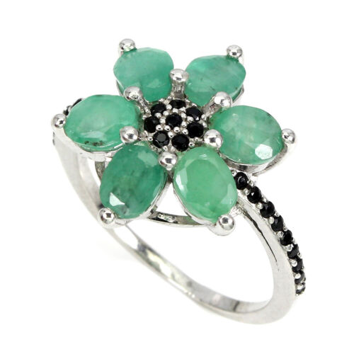 Unheated Oval Green Emerald 5x4mm Black Spinel 925 Sterling Silver Flower Ring