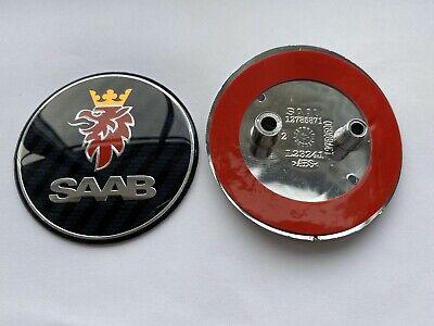 SAAB CARBON FIBRE 68mm BOOT REAR TRUNK BADGE Emblem 2 PIN 93 95 9-3 9-5 12844161