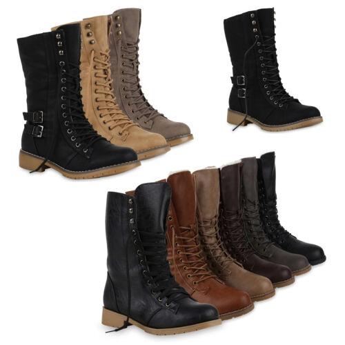 Warm Gefütterte Damen Schnürstiefeletten Schnallen Stiefelette 78863 Schuhe