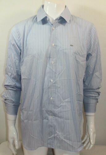 Lacoste Casual Slim Fit Poplin Stretch Woven Button Front Sz Med