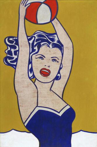 Roy Lichtenstein CANVAS OR PRINT WALL ART Girl with Ball