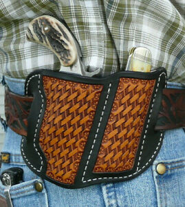 Leather-Holster-NAA-Ranger-II-Knife-Combo-North-American-Arms-Ruff-039-s-Black-amp-Tan