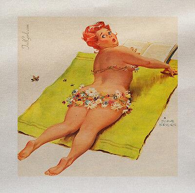 Pinup Pin Up Girl Playa Impreso Panel de tela de hacer un cojín tapizado de CRAFT