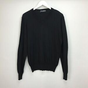Dolce-amp-Gabbana-100-Cotton-Jumper-UK-Size-10-12-Black-V-Neck