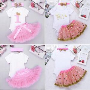 ddd77f678a4 Baby Girls 1st First Birthday Dress Romper Tutu Skirt Headband Cake ...