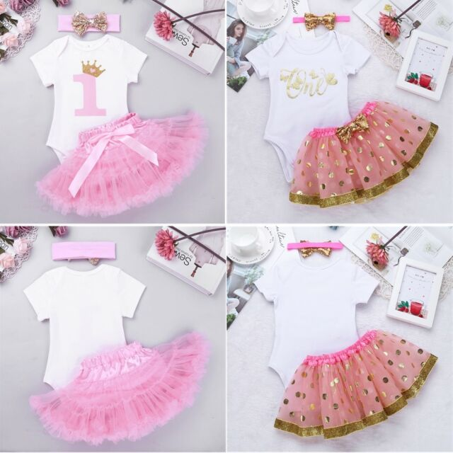 29b926bd9e482 Baby Girls 1st First Birthday Dress Romper Tutu Skirt Headband Cake Outfits  Sets