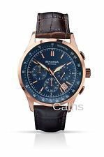Sekonda Gents Chronograph Watch Blue and Rose Gold Dial Brown Leather Strap 1157