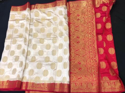 Bollywood Diwali Tusser Indian Rosso Sari Cream Silk Saree Ms9 South Bianco Oro pxxdqTrw