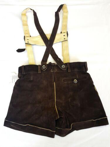 Damen Lederhosen mit Trägern Bayernhosen Trachten Shorts Stickerei braun Gr 48