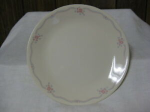 8 Corning Corelle English Breakfast Dinner Plates Pink Flowers Blue Leaves