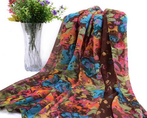 Ladies Women Soft Long Neck Large Floral Scarf Wrap Shawl Beach Sarong Dress