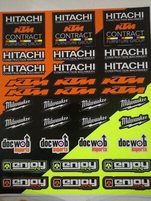 Enjoy MFG Sticker Sheet 28 x 41 cm White KTM Stickers decals Graphics Motocross