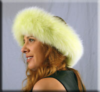 Lime Green Fox Fur Headband Furs One Size Fits All