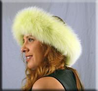 Lime Green Fox Fur Headband Furs One Size Fits All