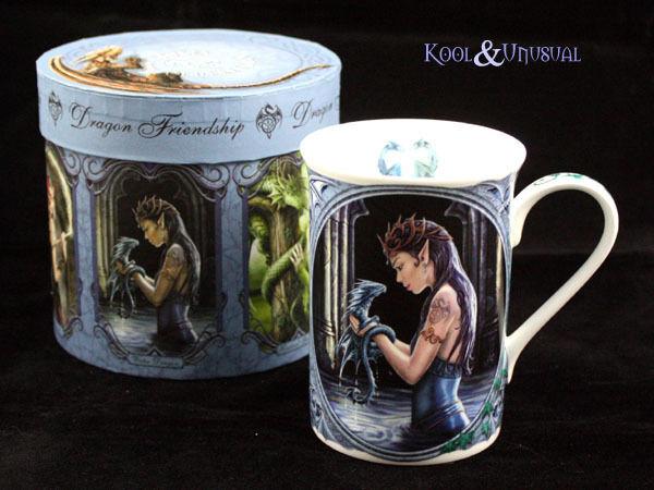 "Anne Stokes Bone China Mug Cup: ""Water Dragon"" Fairy Elf Girl with Baby Dragon"