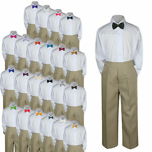 3pc Shirt Khaki Pants Bow Tie Set Baby Toddler Kids Boys Wedding Formal Suit S-7