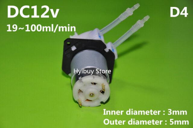 DC 12v D4 Lab dosing pump peristaltic head chemical water liquid 19~100ml/min