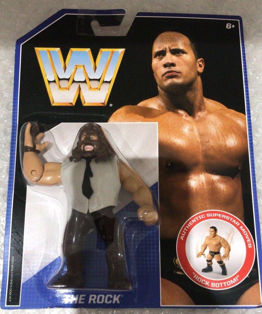 WWF WWE Retro MATTEL HASBRO Moc tarjeta de error la humanidad la figura Rock De Colección