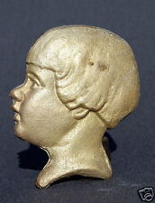 Wandbild Kinderbild Kinderkopf Metall Bronze / Messing