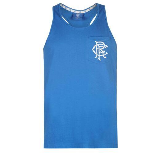 Team Glasgow Rangers Muscle Vest Mens Gents Tank Top Sleeveless Crew Neck Round