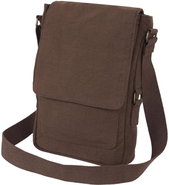 Army Vintage Canvas Tablet Messenger Bag Tech Case Travel Shoulder Pouch Camo