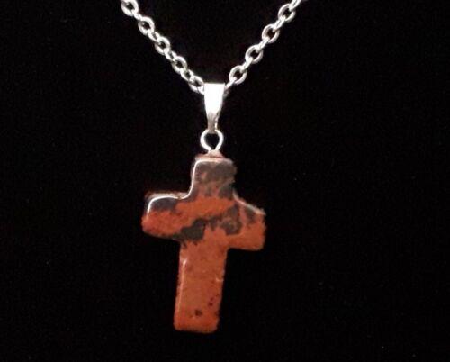 Crystal Necklace Carved Cross Polished Stone Pendant Quartz Jasper Jade Agate