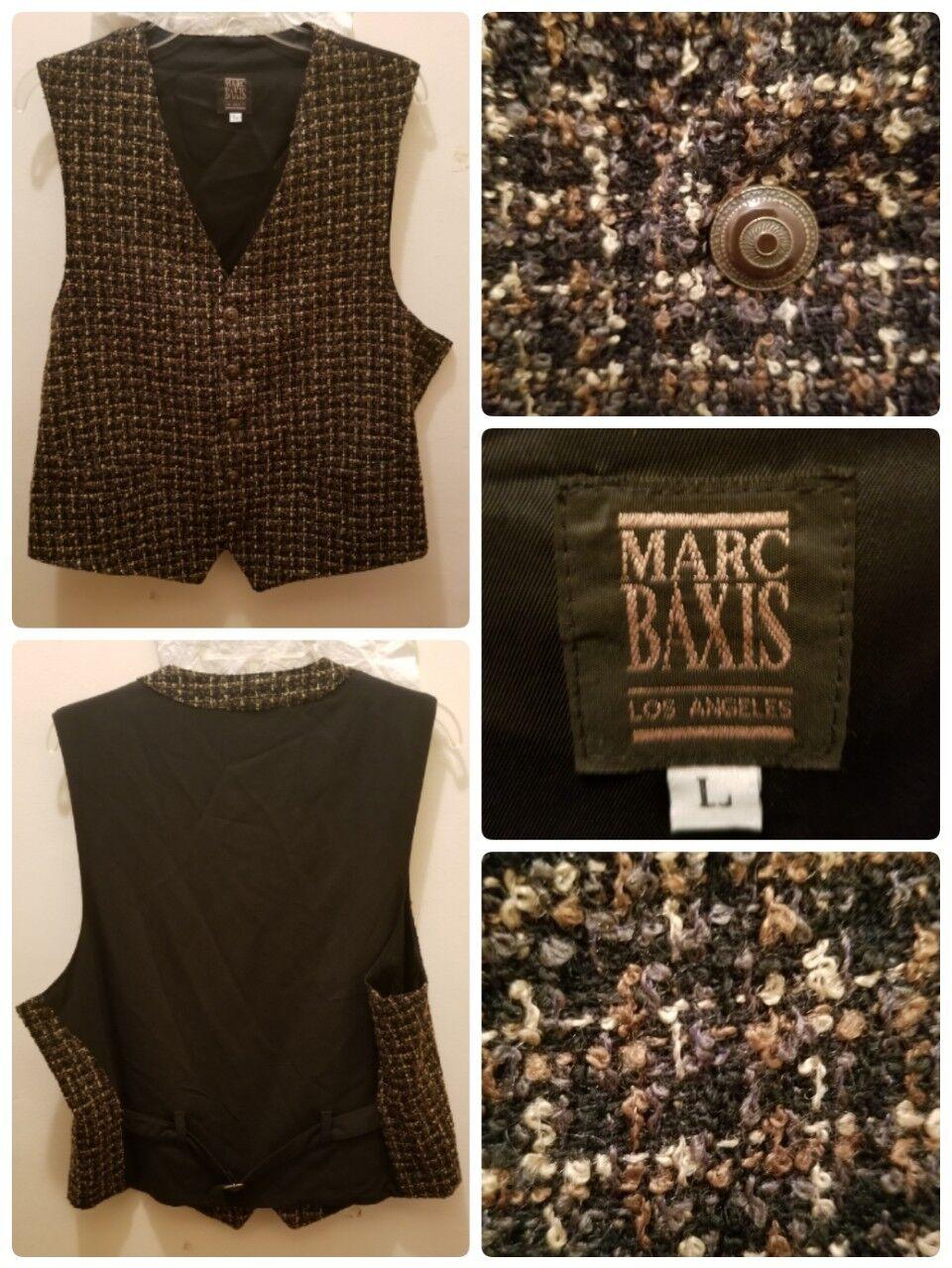 MARC BAXIS Los Angeles Vest Waistcoat Größe Large Wool Blend Lined Geometric USA
