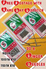 30 x domestica SINGER Aghi per macchine da cucire > Taglia 14,16 & 18 > 10 di ogni > vintage