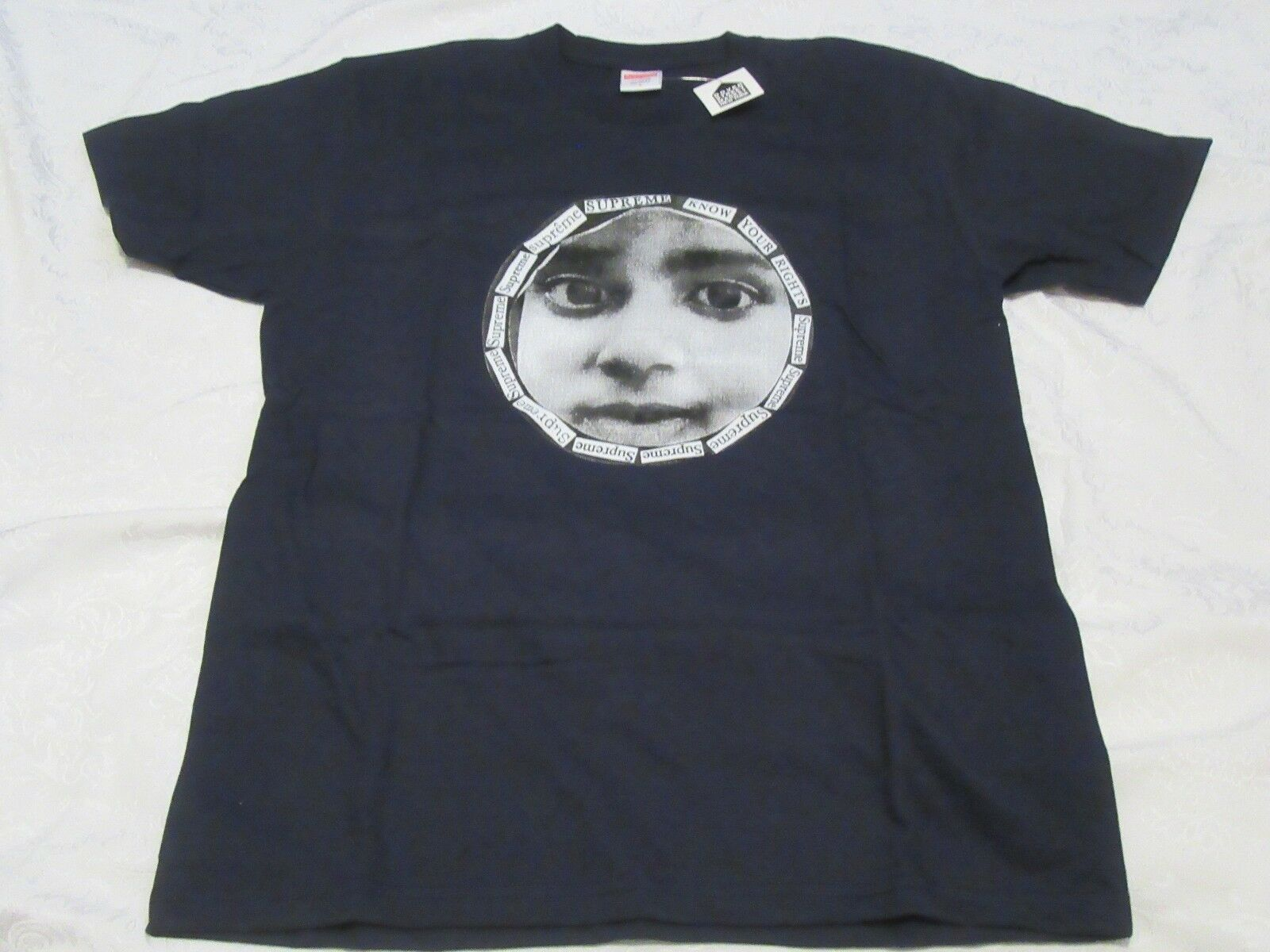 Supreme Know Your Rights Navy Dover Street Tag Tee L LARGE