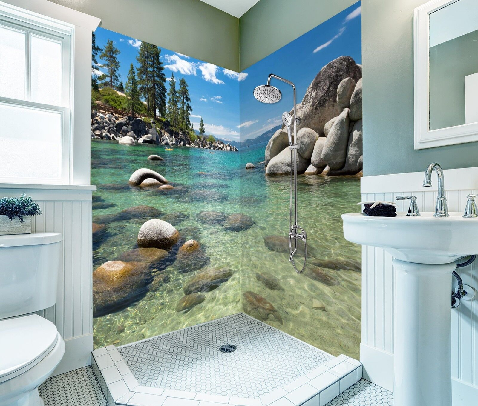 3D Tree water stone 437 WallPaper Bathroom Print Decal Wall Deco AJ WALLPAPER UK
