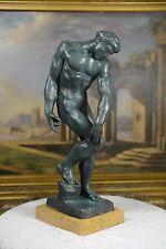 "17.75""H Bronze Nude Male statue ""Adam"" bronze sculpture"