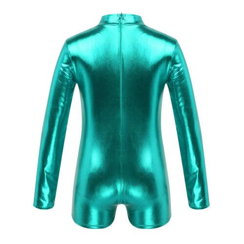 Kid Girl Shiny Gymnastics Leotard Ballet Dance Unitard Metallic Jumpsuit Costume