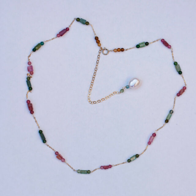 AD61 Natural Colorful Tourmaline column and beads 14KGF necklace W/pearl pendant