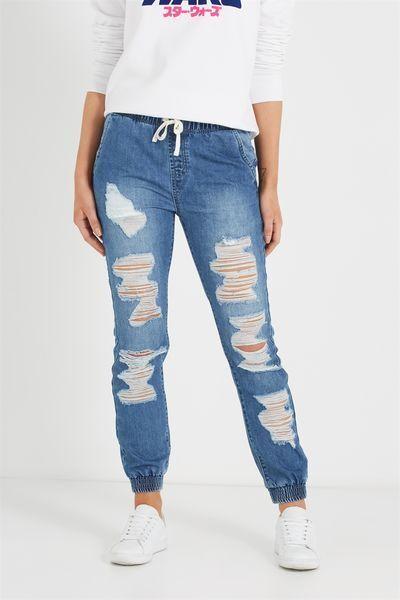 Cotton On Ripped Distressed Denim Jogger Jean Indigo bluee Size 8 Womens New