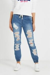 Cotton-On-Ripped-Distressed-Denim-Jogger-Jean-Indigo-Blue-Size-8-Womens-New