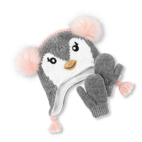 NWT The Childrens Place Girls Gray Penguin Hat Mittens Set