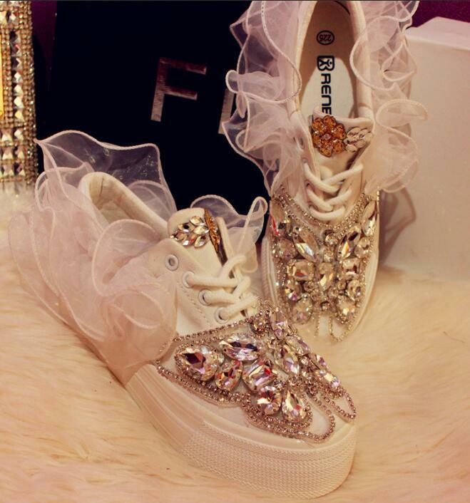Mujer con Estrás Plana Informal Zapatos Zapatos Zapatos lace round toe con cordones zapatillas de deportes Bling  promociones de descuento