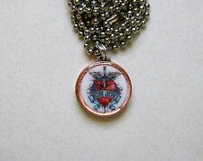 "Lucky Penny Pendant Bon Jovi HEART & DAGGER Charm 24"" Necklace"