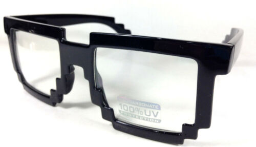 9203,8 bit,eyewear,black,clear,lence,8,bit,sunglasses,cool,squares,ochelari,fun