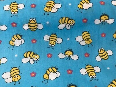 New Remnants Off Cut Fabric Polycotton BUMBLE BEES CRAFTS SEW AT HOME