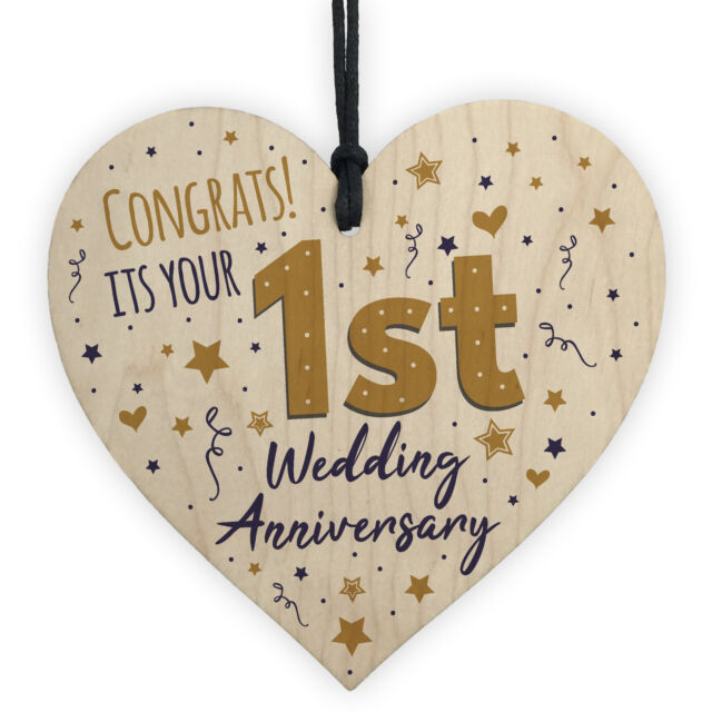 First Wedding Anniversary.Congratulations First Wedding Anniversary Gift Heart 1st Anniversary Present