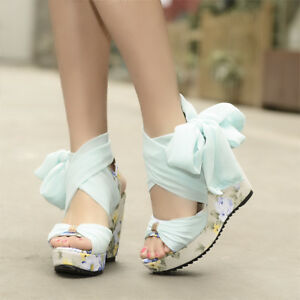 27825ace97e3 Womens Boho Wedge High Heels Platform Strap Sandals Floral Lace Up ...