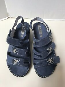 La-Plume-Leather-Sandals-Size-38M-8M-Blue-New-without-Box-Made-in-Italy