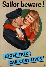 2W51 Vintage WWII Careless Talk Security Wartime War Poster WW2 A2 A3