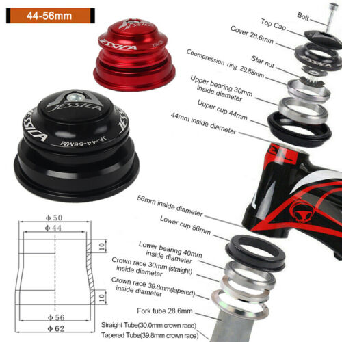 "JESSICA 44-56mm Bearings Headset 1-1//8/"" Threadless MTB Road Bike Sealed Parts"